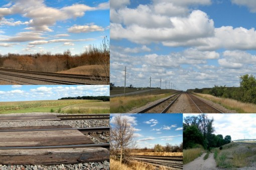 country scenes of railroad right-of-ways and roads