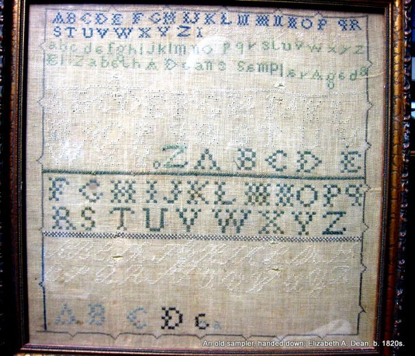 an old sampler by an earlier Elizabeth in our family