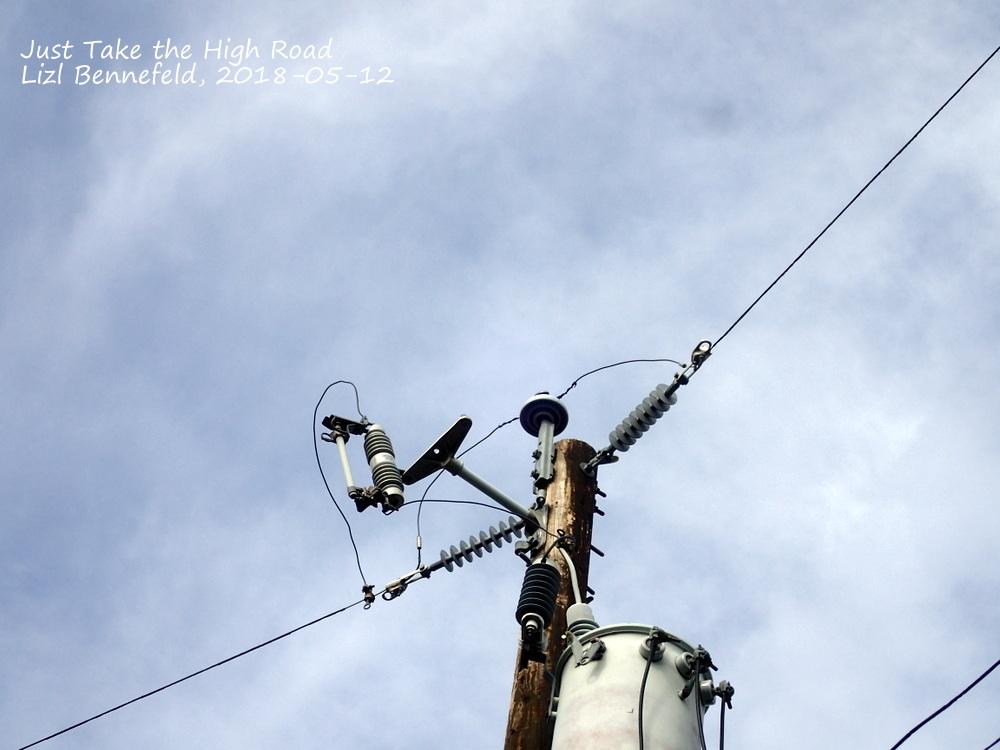 power pole, transformer, antennas &c