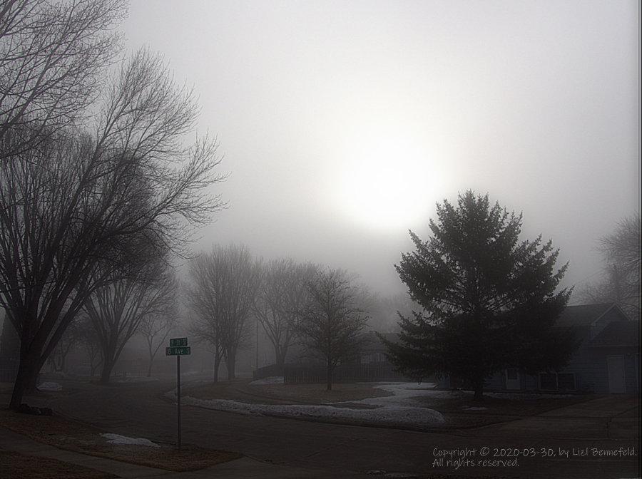 heavy fog, lingering into morning