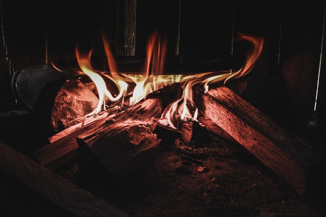 fireplace, burning wood