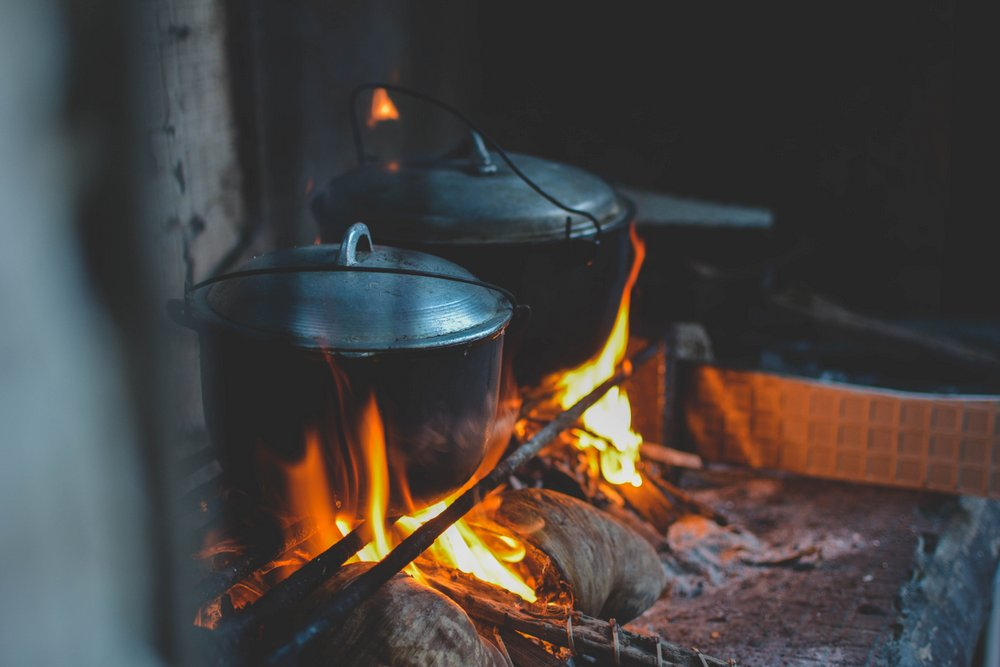 fire and cooking pots