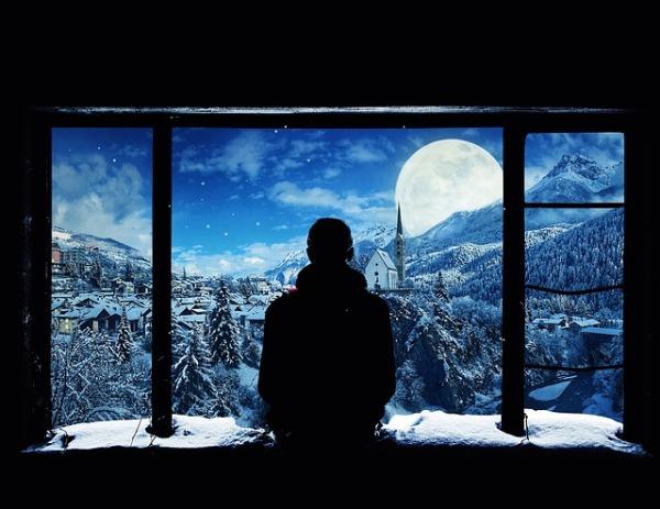 pixabay moonlight, window, muntain, trees, snow
