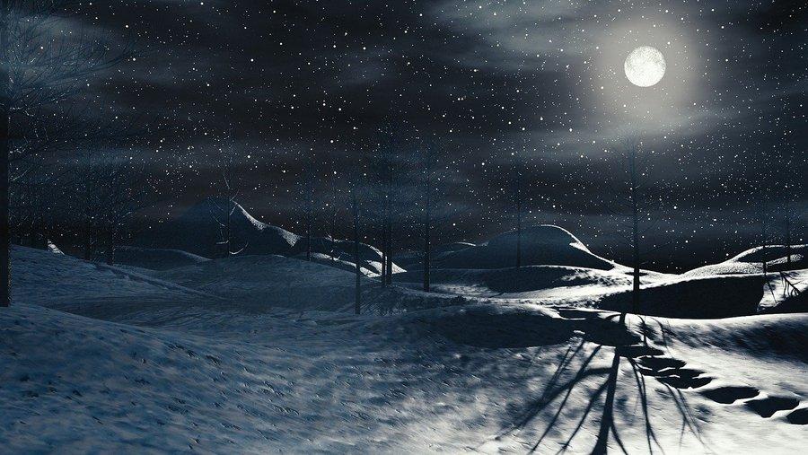 full moon snow landscape shadows
