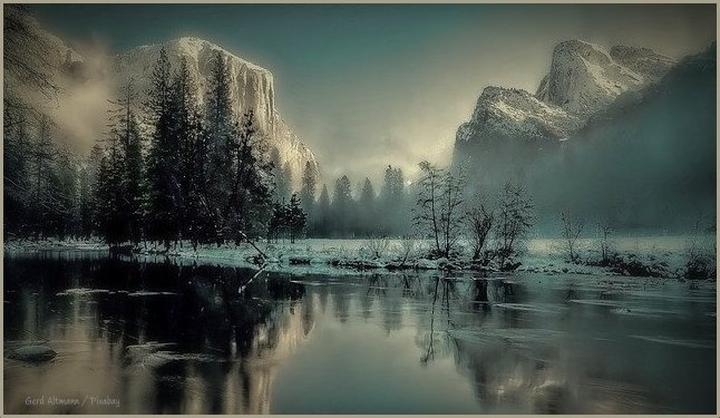 photograph (pixabay) of river, yosemite park, winter